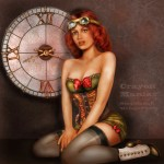Vintage Steampunk pin up by Crayon Maniac